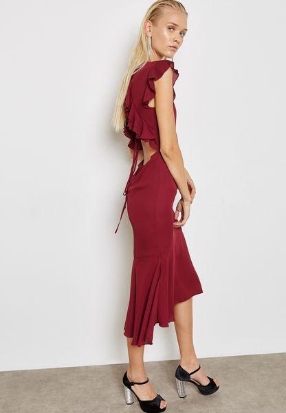 Open Back Tie Midi Dress