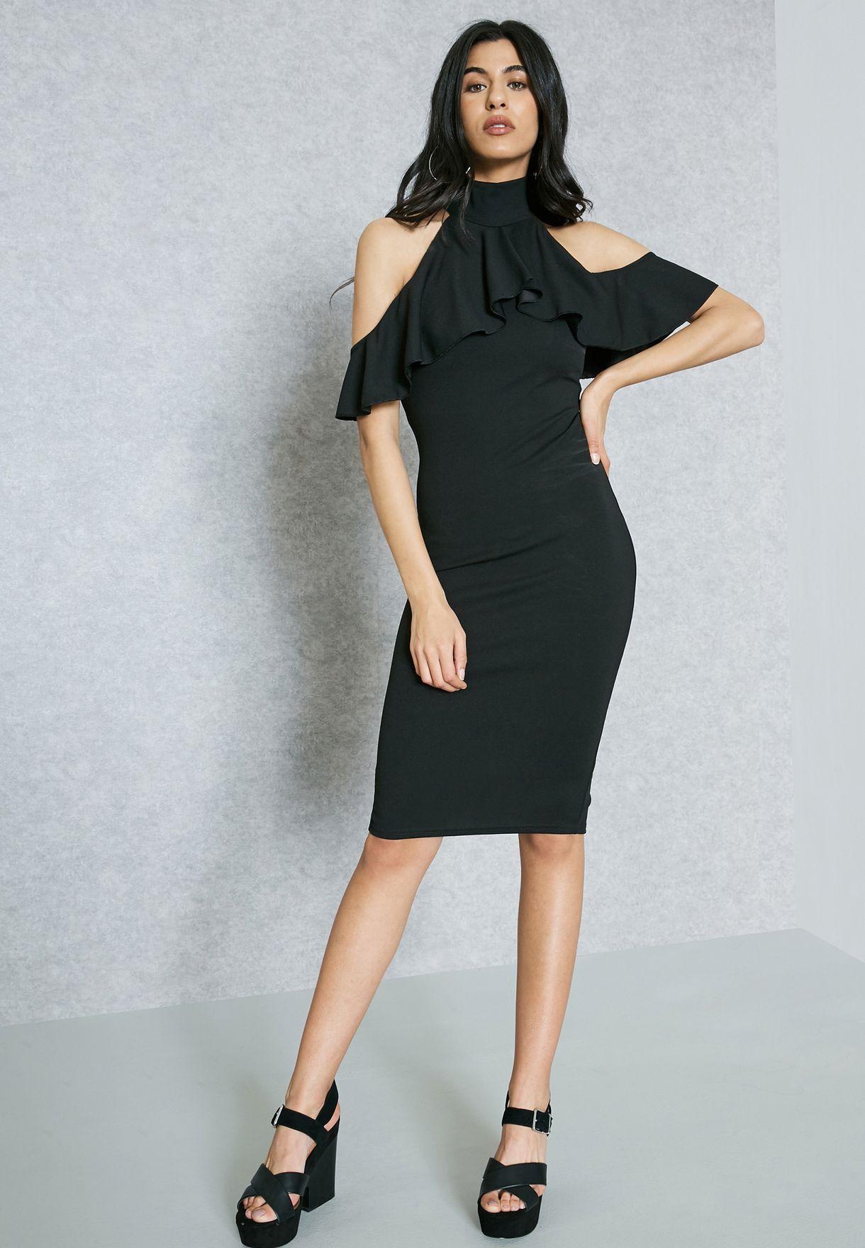 12736ef33b Shop Missguided black High Neck Cold Shoulder Ruffled Detail Dress ...