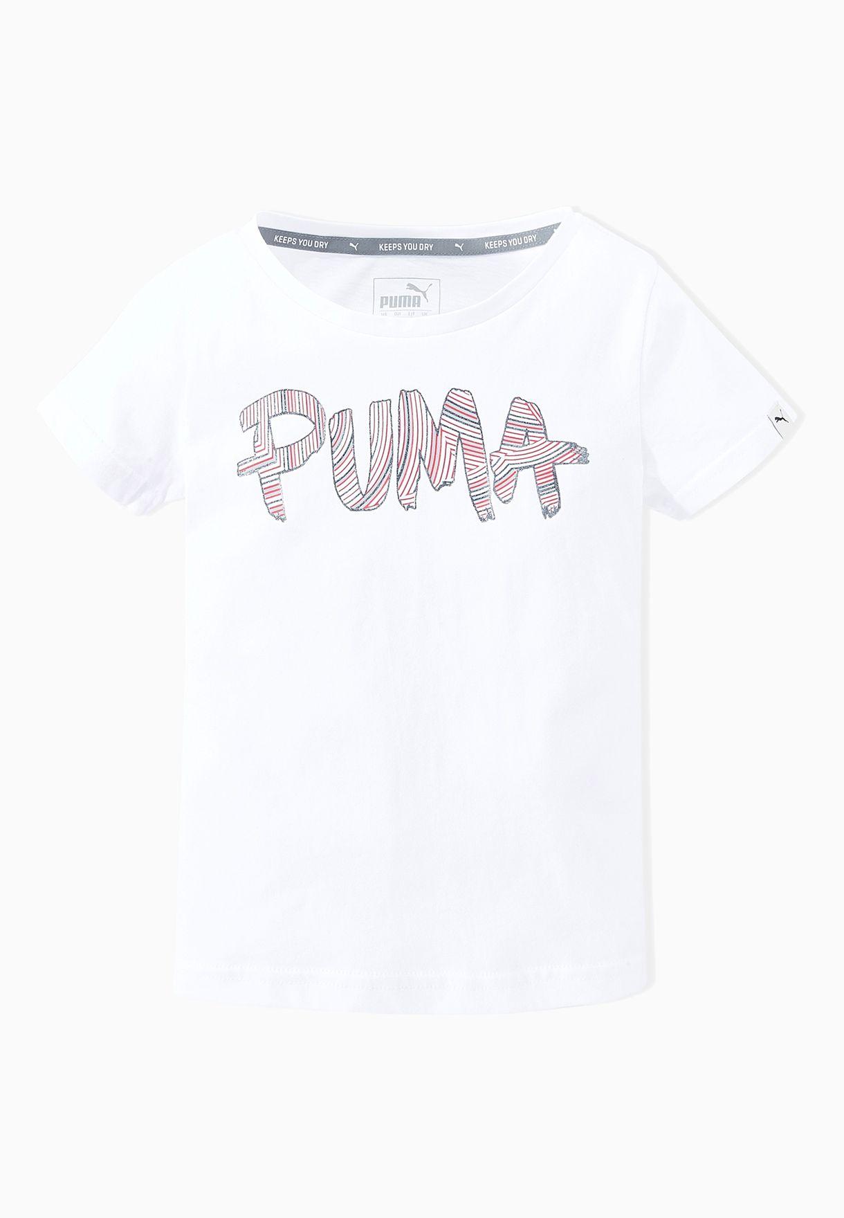0ea3a74b Shop PUMA white Kids Fun Logo T-Shirt 83660502 for Kids in Oman ...
