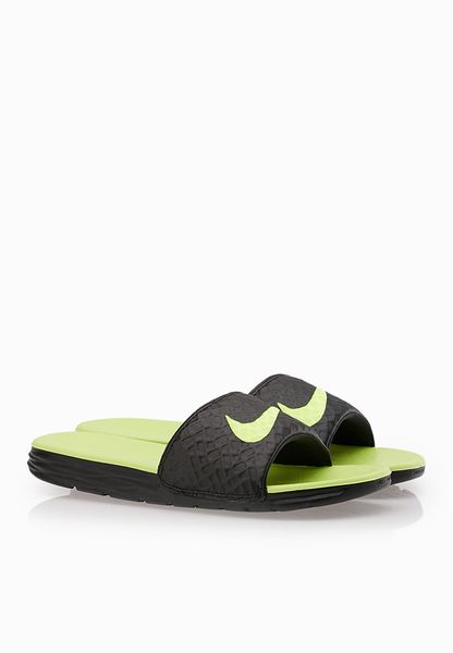 Nike Benassi Solarsoft Slide 2 Black Neon Casual Shoes - Men
