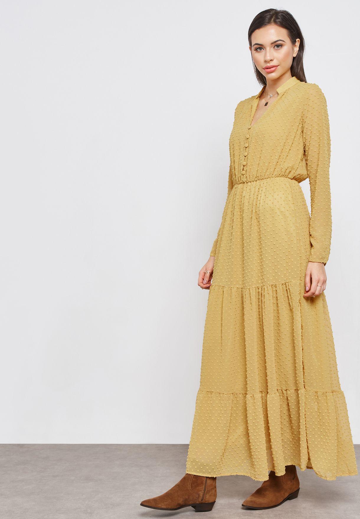 فستان مكسي بأجزاء كشكش