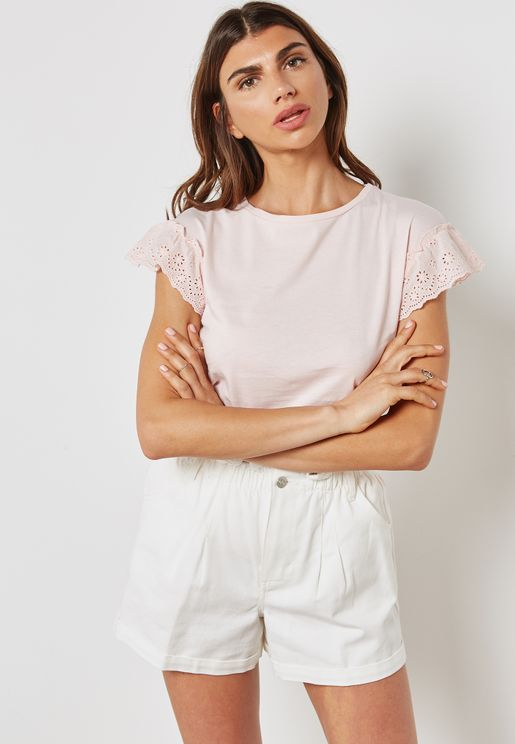 Broderie Trim Shell Top
