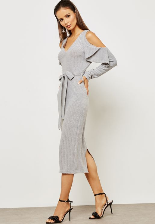 Knitted Cold Shoulder Ruffle Midi Dress