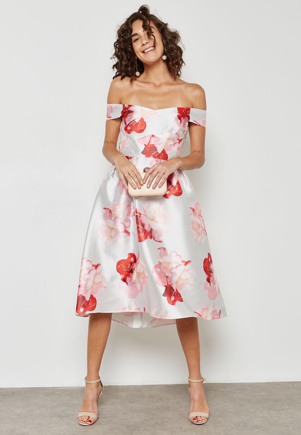Floral Print Bardot Prom Dress