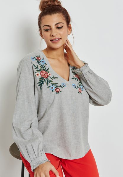 Embroidered Cuffed Sleeve Top