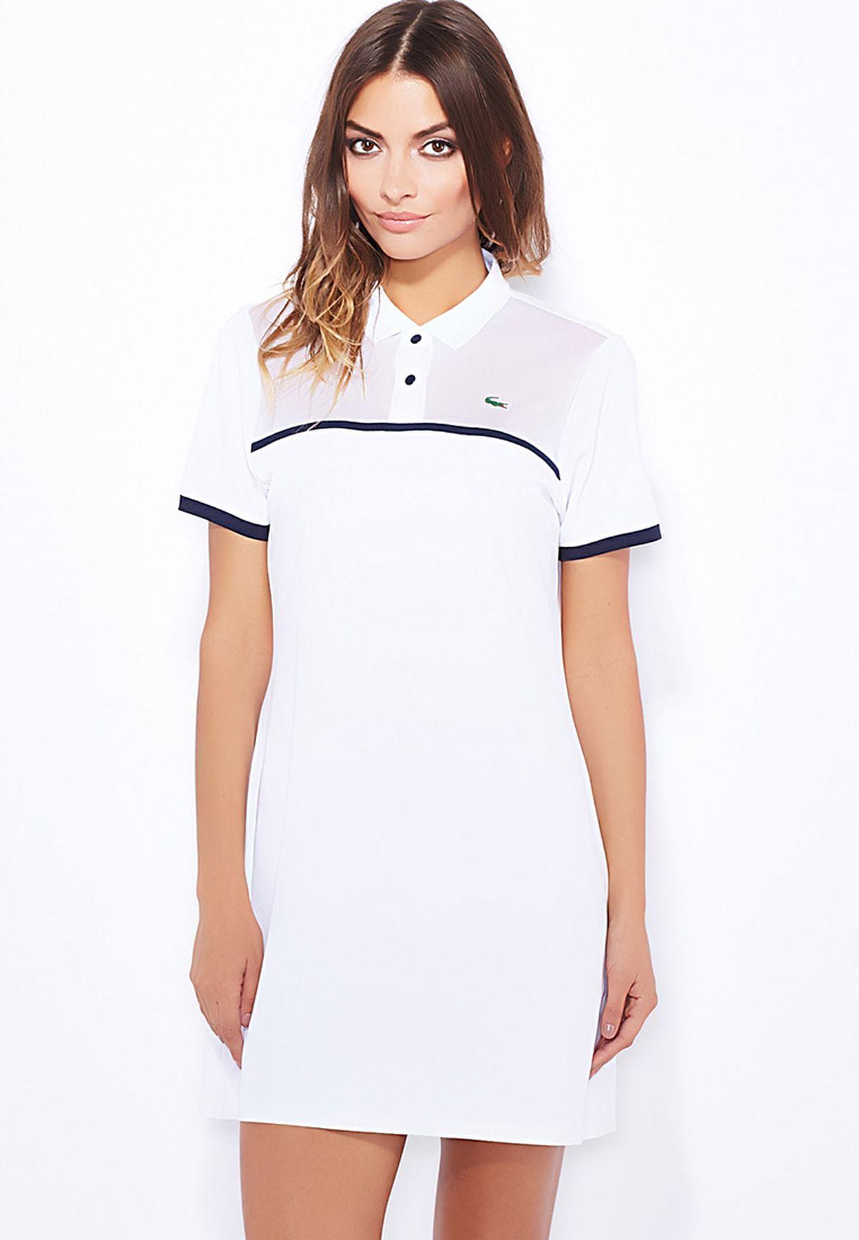 92c690b9e4b90 Shop Lacoste white Ribbed Collar Polo Dress EF7342-522 for Women in Qatar -  LA014AT04RUD