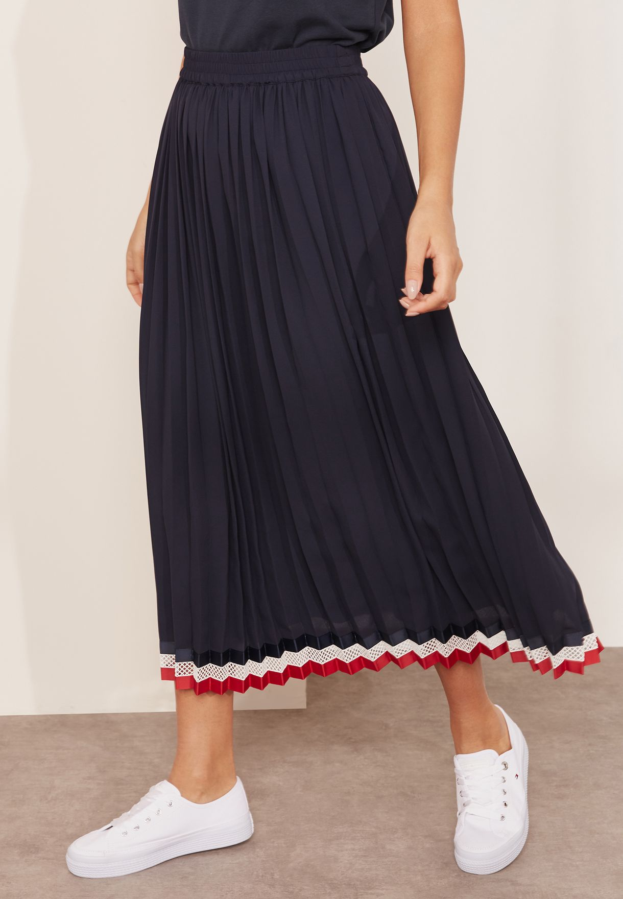 c9f0e91f0a Shop Tommy Hilfiger navy Striped Detail Pleated Skirt WW0WW22151 for ...