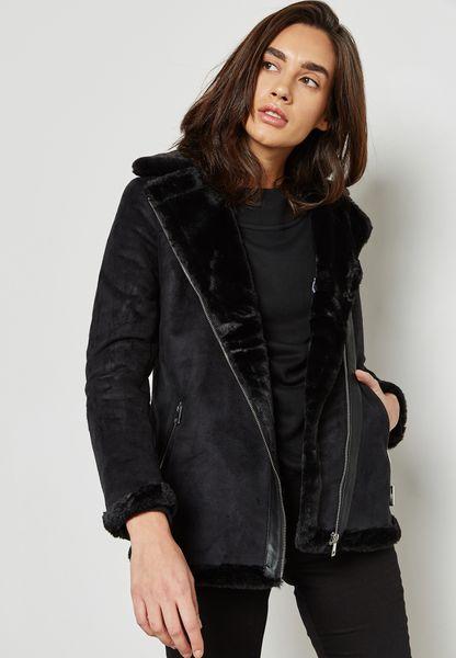 Longline Faux Fur Collar Biker Jacket