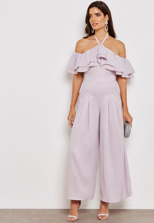 Cold Shoulder Ruffle Wide Leg Jumpsuit