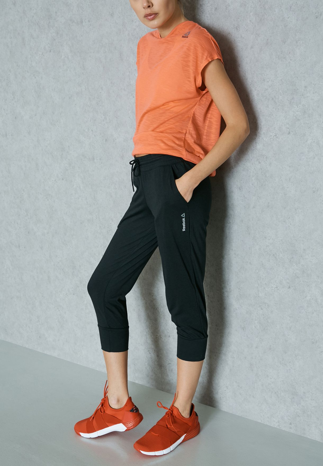 51044b93799c Shop Reebok black Elements Jersey Capri AJ2741 for Women in UAE ...