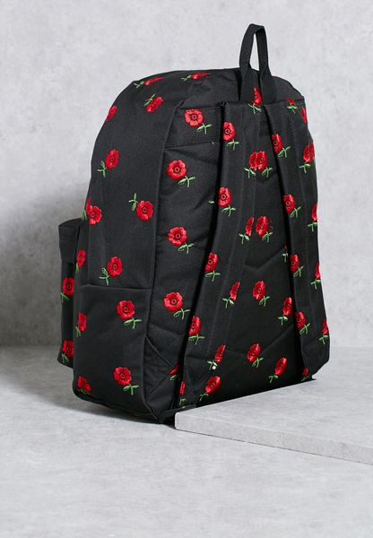 Shop hype black embroidered rose backpack ss for