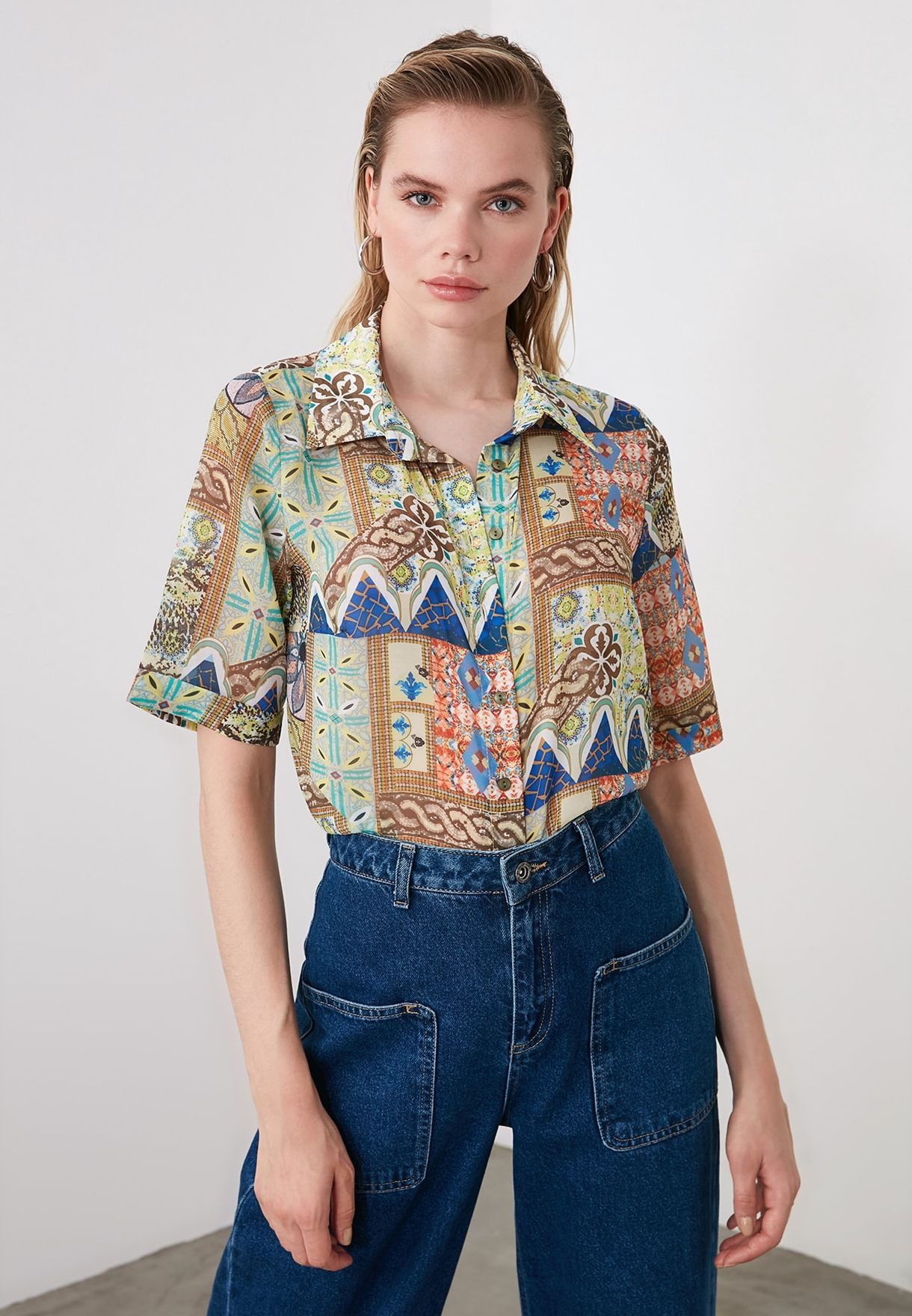 Wide Sleeve Printed Shirt