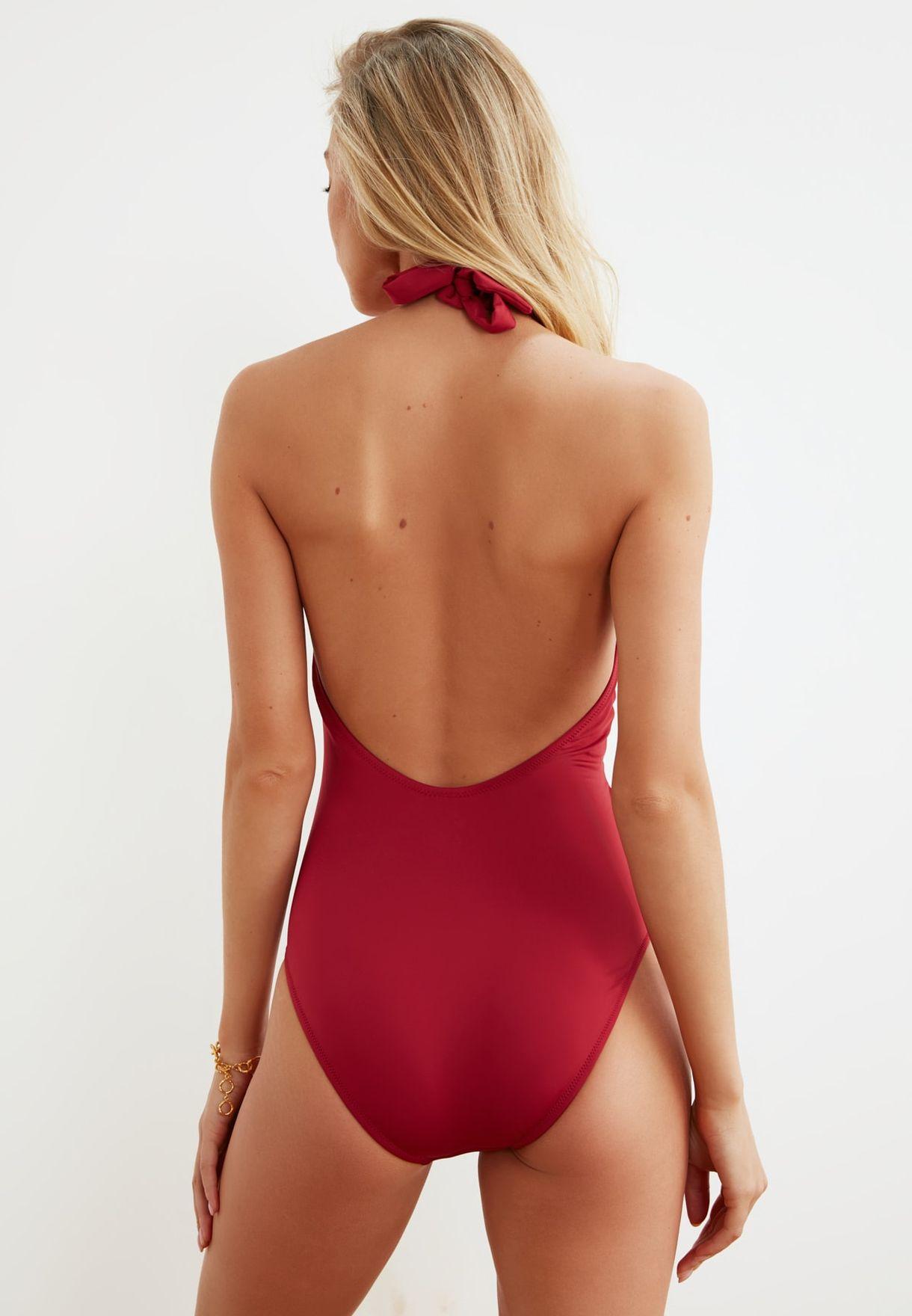 Halter Neck Plunge Swimsuit