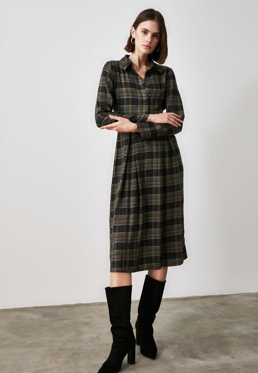 Plaid Placket Dress
