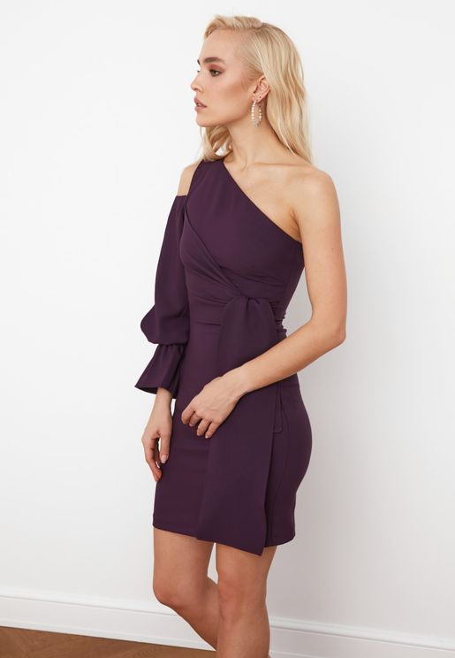 One Shoulder Ruffle Detail Dress