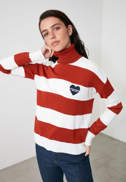 Wide Stripe High Neck Sweater