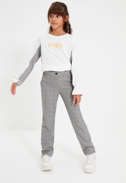Kids Belted Checked Trousers