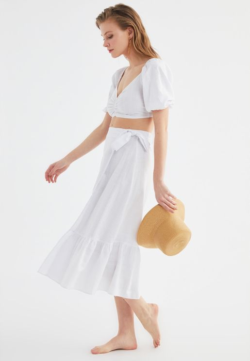 Cropped Top & Pleated Skirt Set