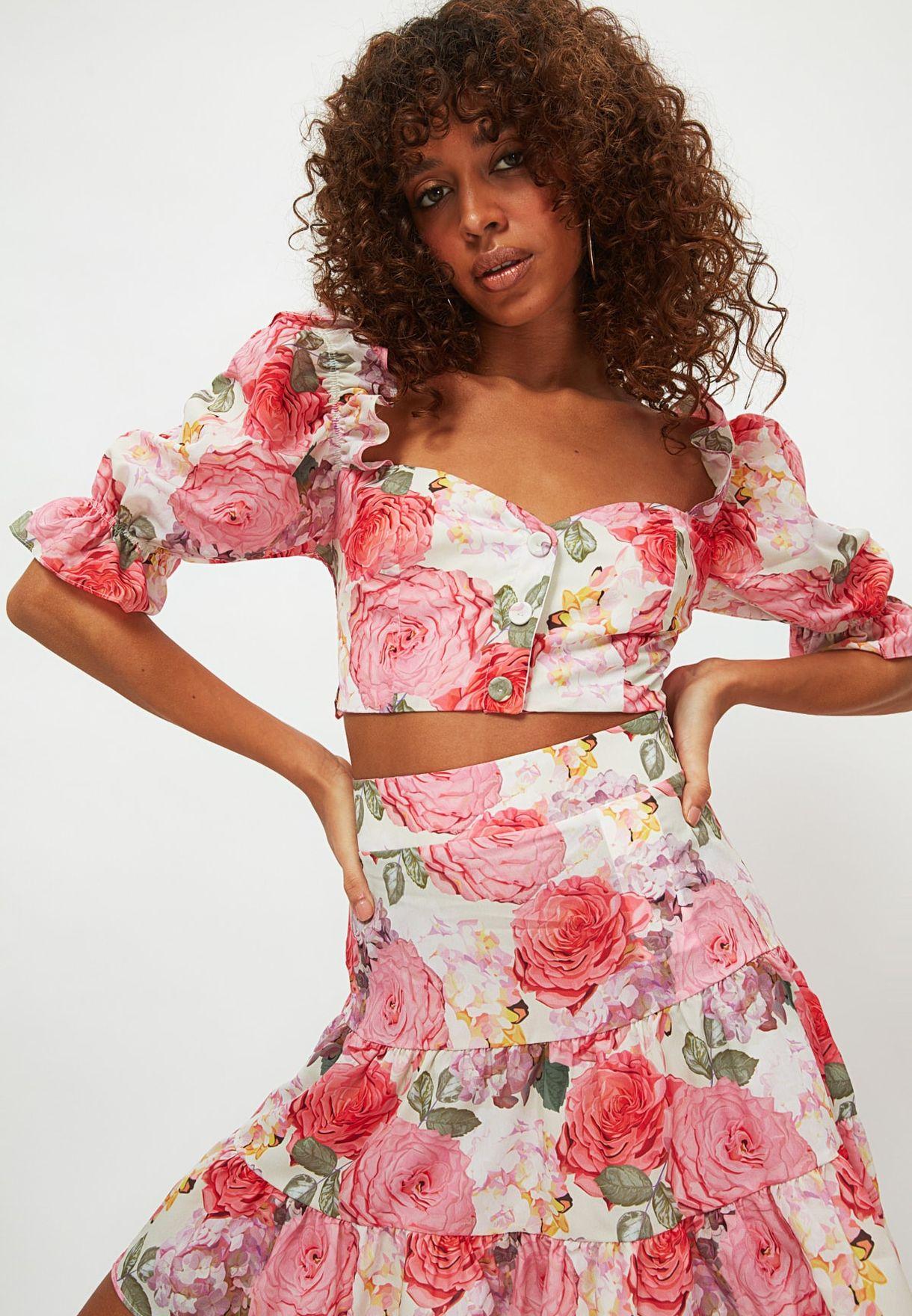 Floral Print Crop Top & Skirt Set