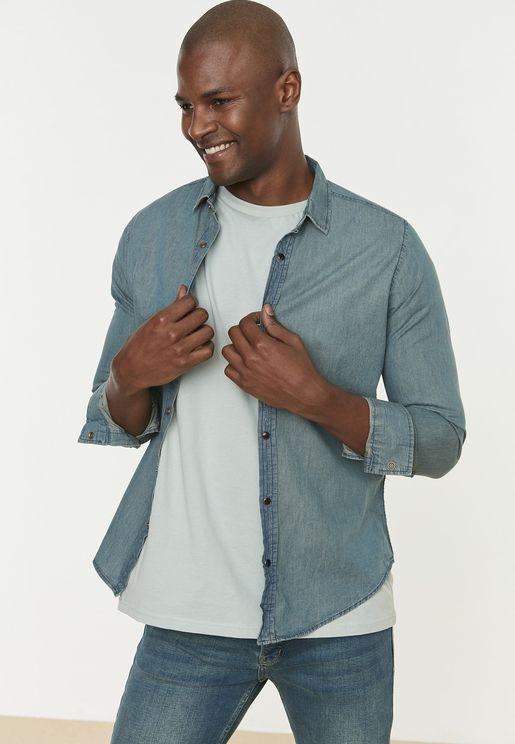 Light Wash Slim Fit Denim Shirt