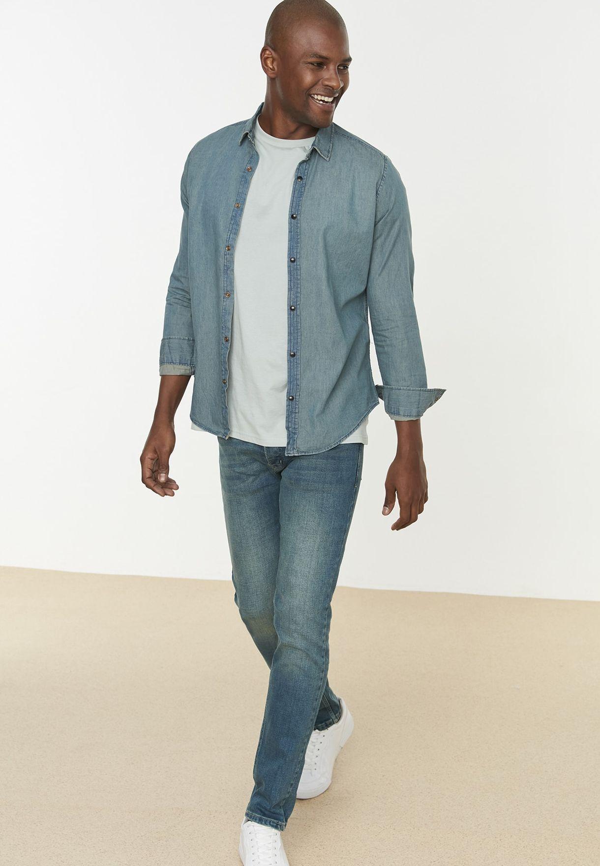 قميص جينز بقصة سلم فيت