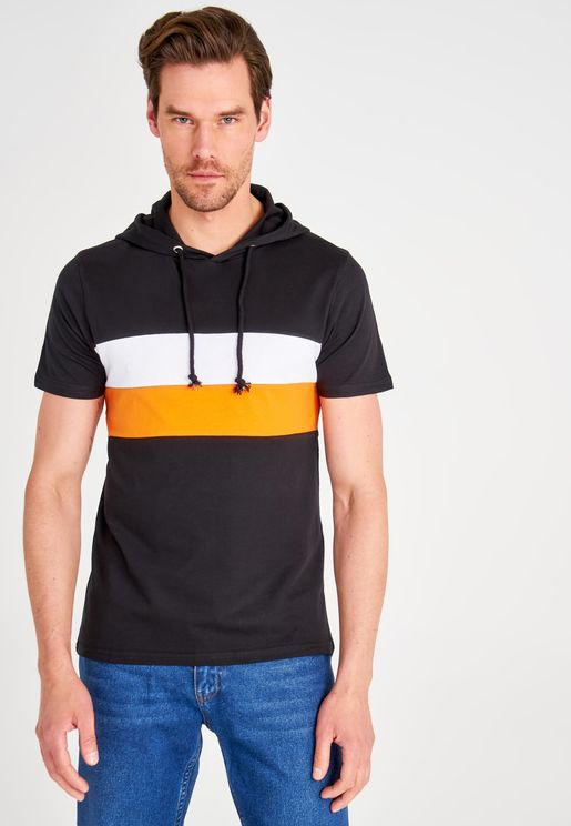 Chest Panel Hooded T-Shirt