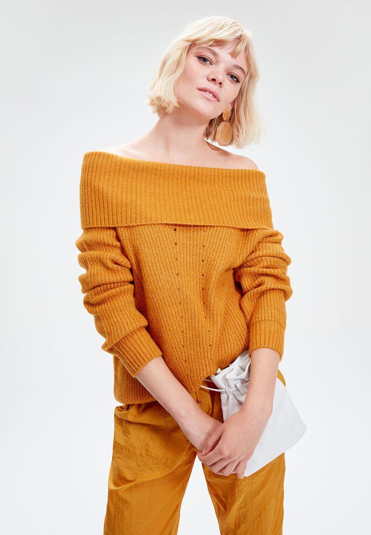 Overlay Bardot Ribbed Sweater