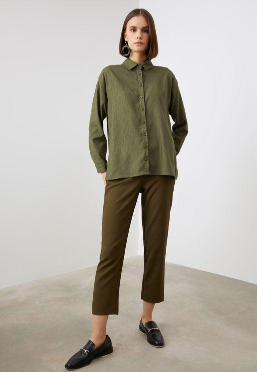 Button Down Velvet Shirt