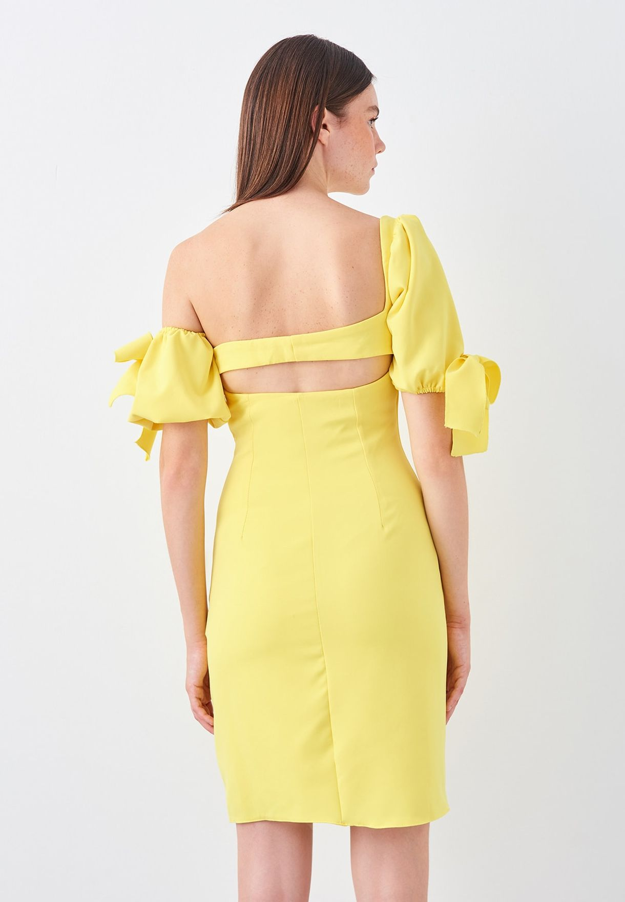 One Shoulder Puff Sleeve Bodycon Dress