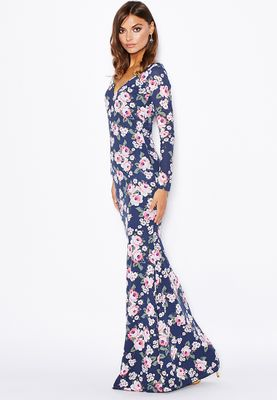 Threadz Floral Printed Fishtail Maxi Dress
