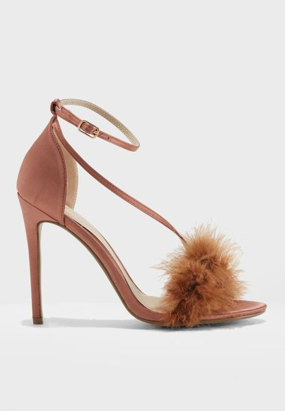 Faux Feather Asymmetric Sandal