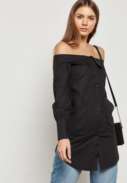 Collared Off Shoulder Shirt Dress