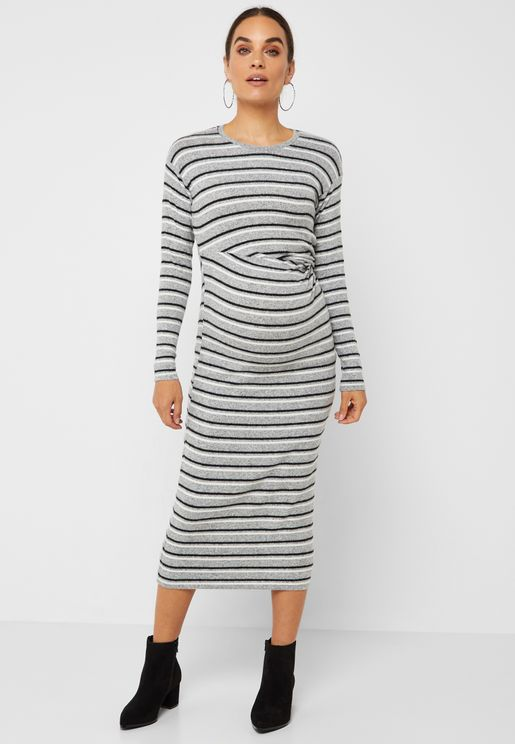 Front Twisted Striped Dress