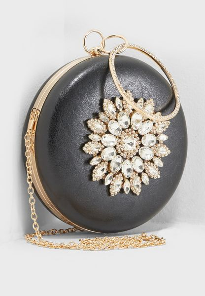 Round Embellished Clutch