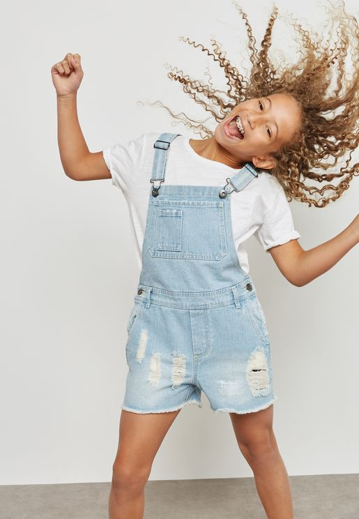 Teen Ripped Dungaree