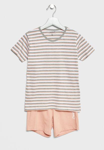 Striped T-Shirt + Shorts Set