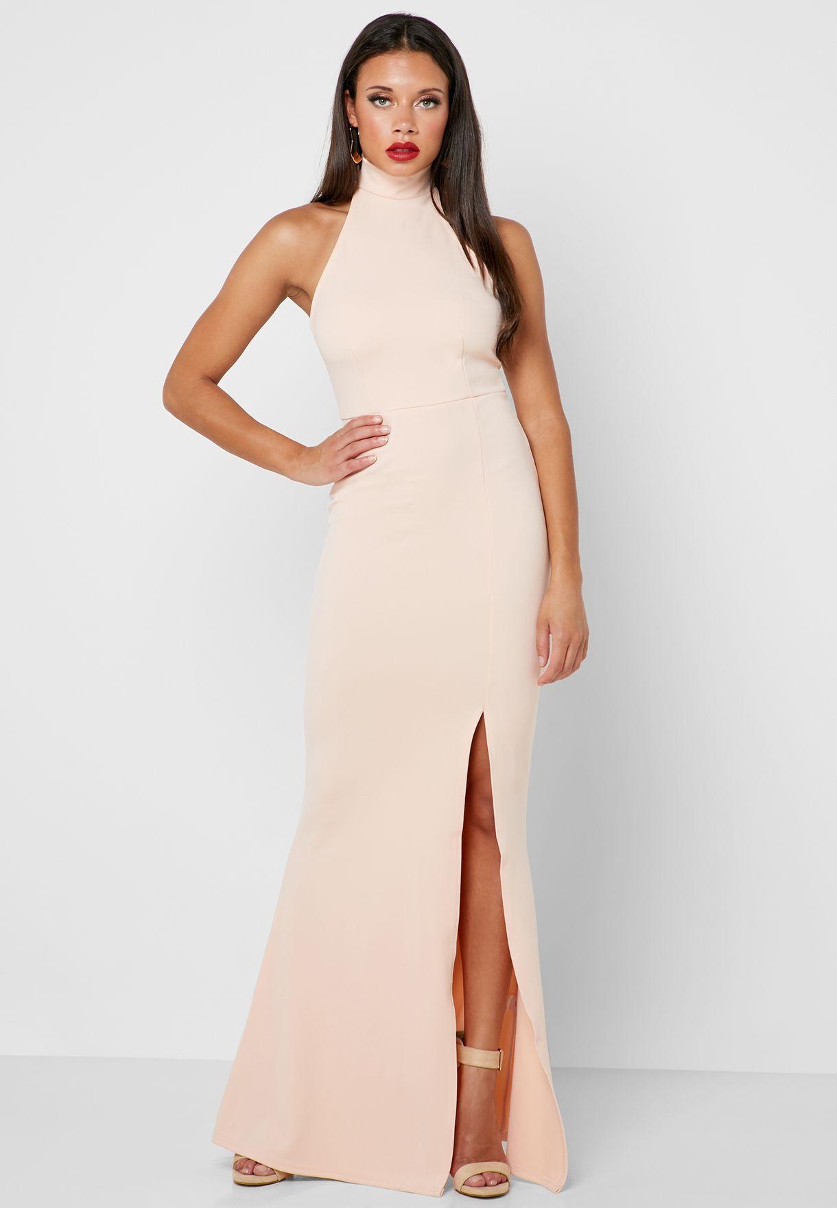 4f0871402a0c Shop Missguided pink High Neck Side Split Maxi Dress DE910863 for ...