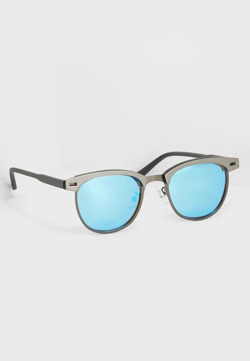 Polarised Lens Clubmaster Sunglasses