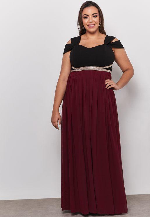 Contrast Embellished Waist Maxi Dress