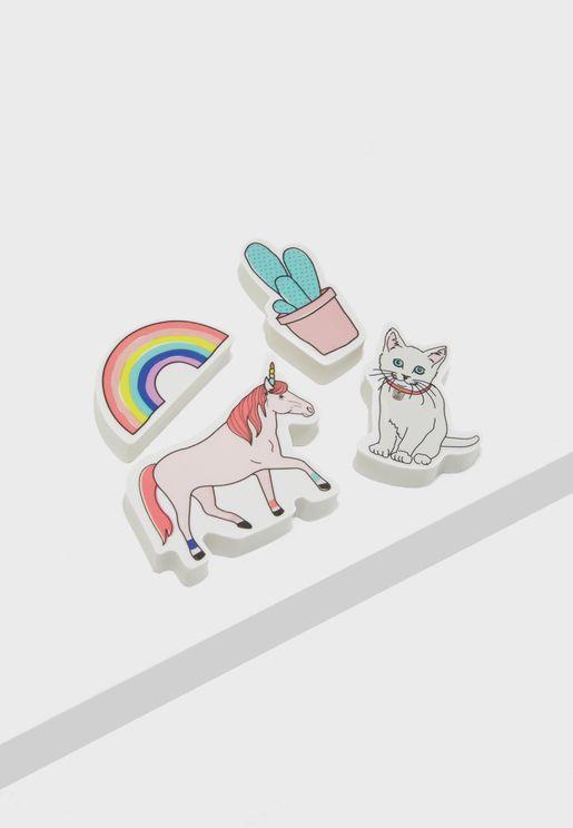 Rainbow Unicorn Novelty Eraser Pack