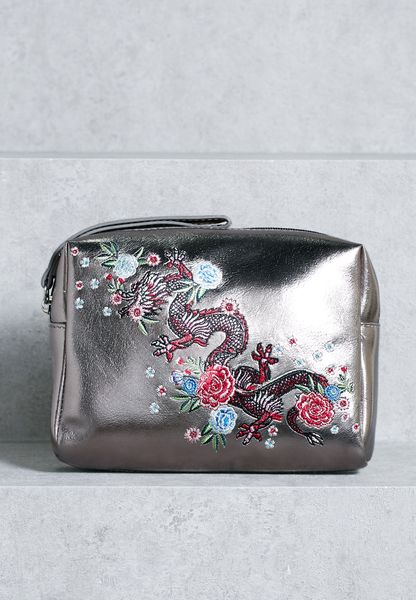 Dragon Embroidered Make Up Pouch