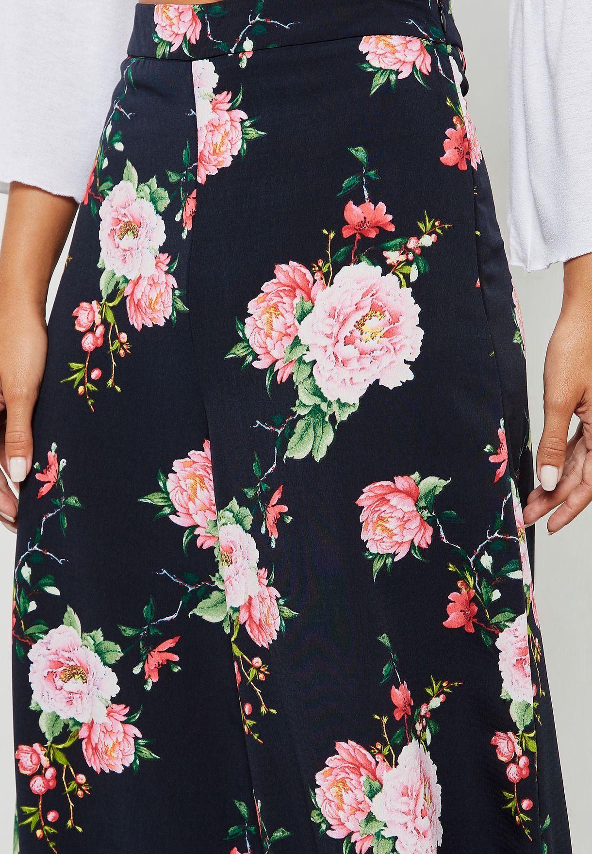 Floral Print Cullote Pants