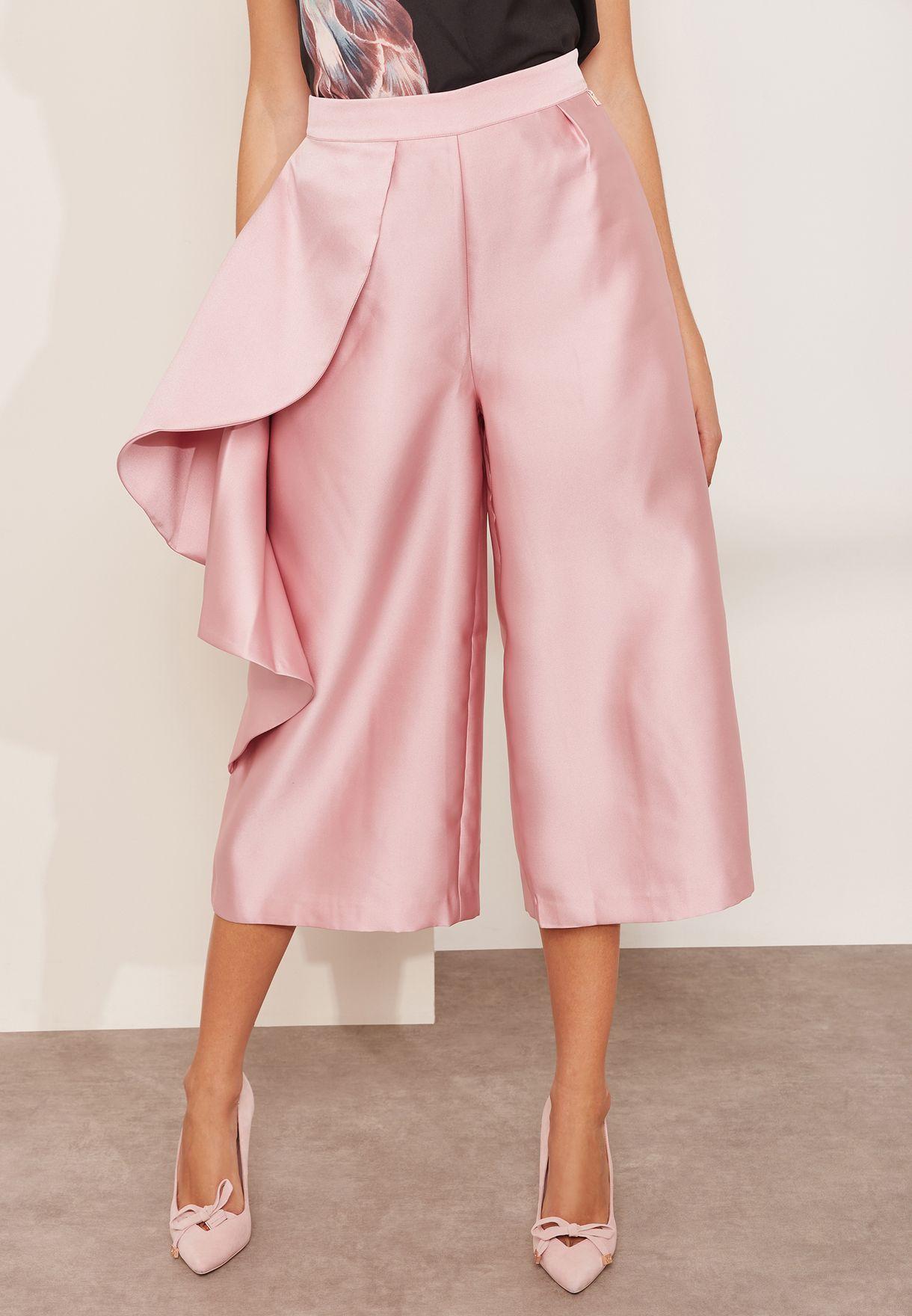 ba034929a Shop Ted baker pink Ruffle Wide Leg Pants 145381 for Women in Qatar ...