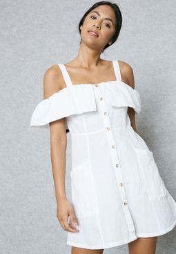 Pocket Detail Cold Shoulder Dress