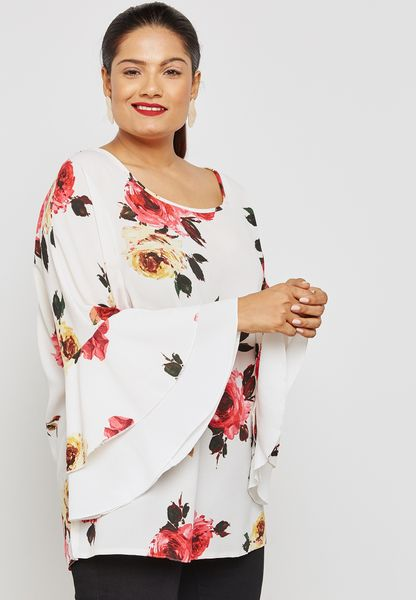 Floral Print Tiered Ruffle Sleeve Top