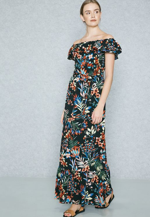 Tropical Print Bardot Maxi Dress