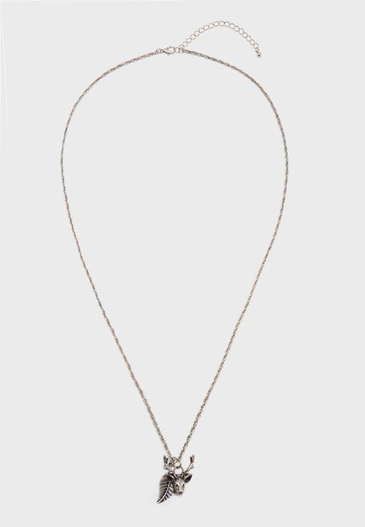Deer Leaf Pendant Necklace