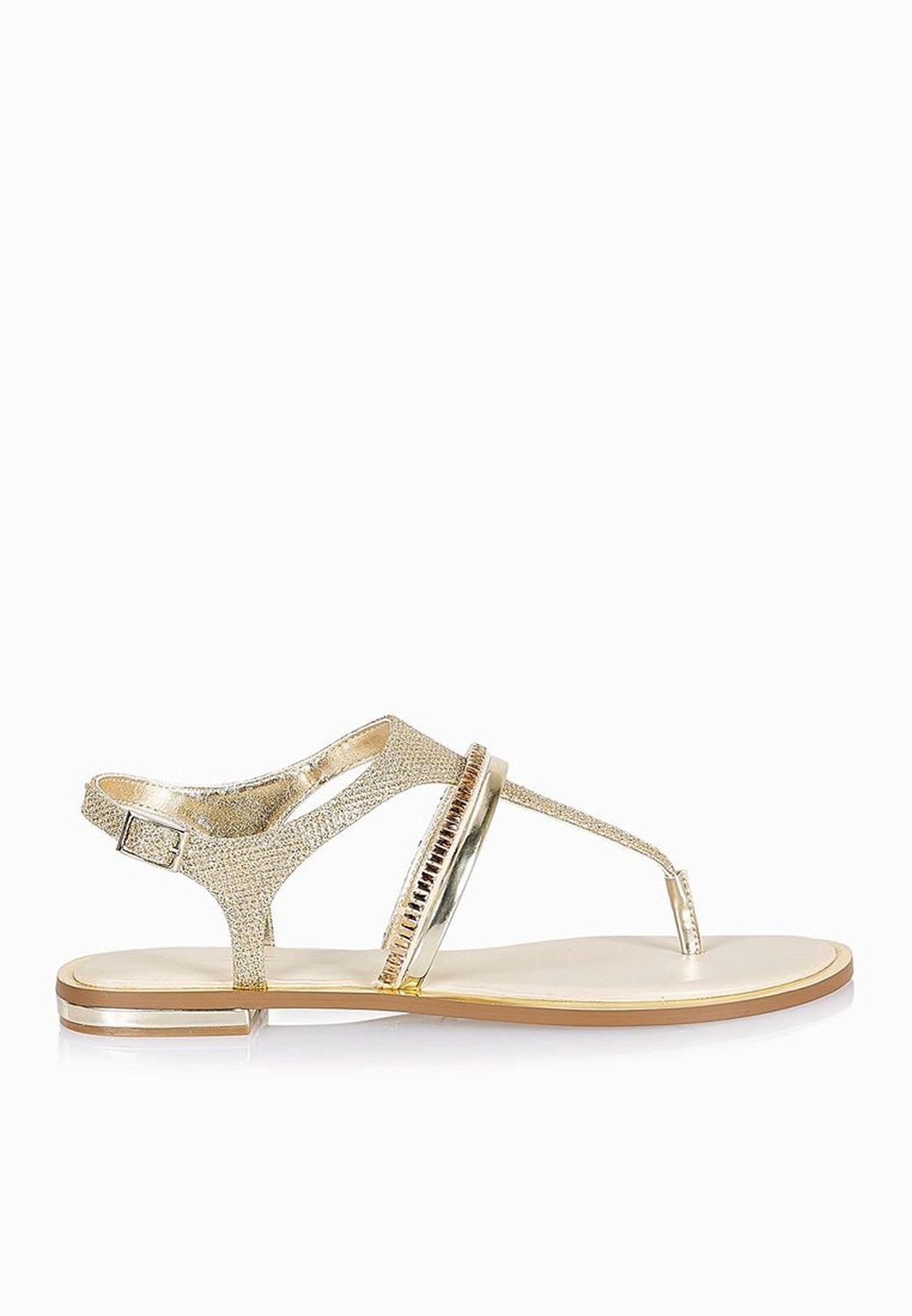 838d26562 Shop Aldo gold Olivetta T Bar Thong Sandals for Women in UAE ...