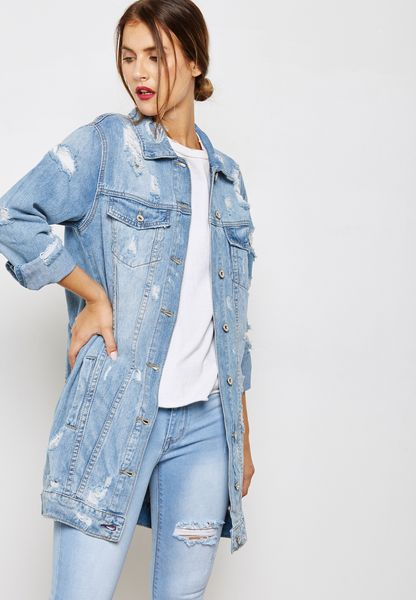 Slogan Ripped Longline Denim Jacket