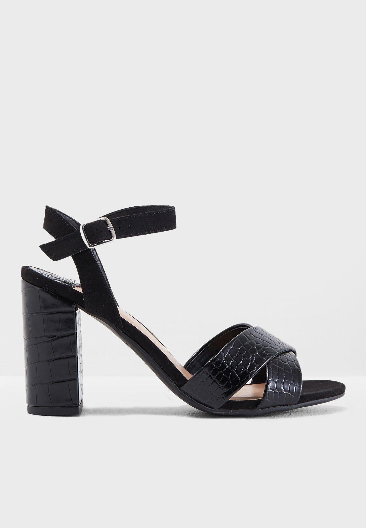 454a8125d08 Shop Dorothy Perkins black Wide Fit Serena Croc-Debossed Sandals ...